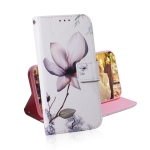 Magnolia Flower Pattern Coloured Drawing Horizontal Flip Leather Case for Galaxy J6 Plus, with Holder & Card Slots & Wallet