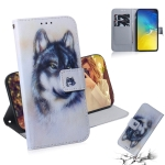 White Wolf Pattern Coloured Drawing Horizontal Flip Leather Case for Galaxy S10 E, with Holder & Card Slots & Wallet