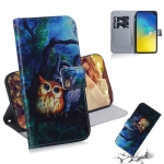 Oil Painting Owl Pattern Coloured Drawing Horizontal Flip Leather Case for Galaxy S10 E, with Holder & Card Slots & Wallet