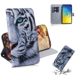 Tiger Pattern Coloured Drawing Horizontal Flip Leather Case for Galaxy S10 E, with Holder & Card Slots & Wallet