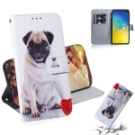 Pug Pattern Coloured Drawing Horizontal Flip Leather Case for Galaxy S10 E, with Holder & Card Slots & Wallet
