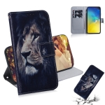 Lion Pattern Coloured Drawing Horizontal Flip Leather Case for Galaxy S10 E, with Holder & Card Slots & Wallet