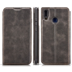 Retro Simple Ultra-thin Magnetic Horizontal Flip Leather Case for Galaxy A30, with Holder & Card Slots & Lanyard(Black)