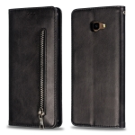 Calf Texture Zipper Magnetic Horizontal Flip Leather Case for Galaxy J4+, with Wallet & Holder & Card Slots (Black)