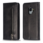 Calf Texture Zipper Magnetic Horizontal Flip Leather Case for Galaxy S9, with Wallet & Holder & Card Slots (Black)