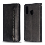Calf Texture Zipper Magnetic Horizontal Flip Leather Case for Galaxy A40, with Wallet & Holder & Card Slots (Black)