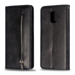 Calf Texture Zipper Magnetic Horizontal Flip Leather Case for Galaxy A6 (2018), with Wallet & Holder & Card Slots (Black)
