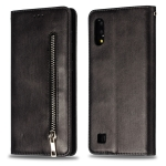Calf Texture Zipper Magnetic Horizontal Flip Leather Case for Galaxy M10, with Wallet & Holder & Card Slots (Black)