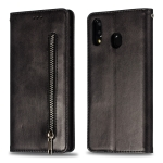 Calf Texture Zipper Magnetic Horizontal Flip Leather Case for Galaxy M20, with Wallet & Holder & Card Slots (Black)