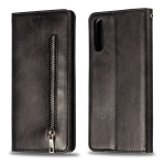 Calf Texture Zipper Magnetic Horizontal Flip Leather Case for Galaxy A50, with Wallet & Holder & Card Slots (Black)