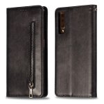 Calf Texture Zipper Magnetic Horizontal Flip Leather Case for Galaxy A7 (2018), with Wallet & Holder & Card Slots (Black)