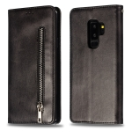 Calf Texture Zipper Magnetic Horizontal Flip Leather Case for Galaxy S9+, with Wallet & Holder & Card Slots (Black)