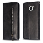 Calf Texture Zipper Magnetic Horizontal Flip Leather Case for Galaxy S7 Edge, with Wallet & Holder & Card Slots (Black)