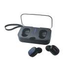 T18S binaural mini wireless Bluetooth headset with charging compartment(Black)