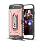 Shockproof PC + TPU Case for iPhone 7 / 8, with Holder(Rosegold)