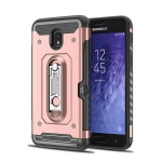 Shockproof PC + TPU Case for Galaxy J3 (2018), with Holder(Rosegold)
