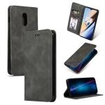 Retro Skin Feel Business Magnetic Horizontal Flip Leather Case for OnePlus 6T(Dark Gray)