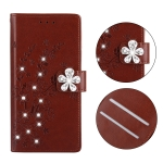 Plum Blossom Pattern Diamond Encrusted Leather Case for Galaxy A10 , with Holder & Card Slots(Plum brown)