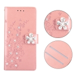 Plum Blossom Pattern Diamond Encrusted Leather Case for Huawei P30 , with Holder & Card Slots(Plum Rose Gold)