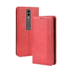 Magnetic Buckle Retro Crazy Horse Texture Horizontal Flip Leather Case for Vodafone Smart V10 (VFD730) , with Holder & Card Slots & Photo Frame(Red)