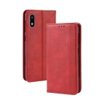 Magnetic Buckle Retro Crazy Horse Texture Horizontal Flip Leather Case for Galaxy A10e , with Holder & Card Slots & Photo Frame(Red)