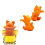 Cute Silicone Cat Filter Reusable Strainer Spice Loose Tea Leaf Herbal Tool(Orange)