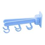 6-Hook Door Cabinet Wall Shelf 180 Degree Rotate Strong Sucker Hanger Hooks Storage Rack(Blue)