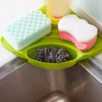 Practical Kitchen Sink Corner Storage Rack Sponge Holder Wall Mounted Tray(Green )