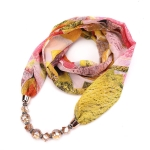 Flower Pattern Chiffon Scarf with Necklace, Size: 180 x 48cm(Pink)