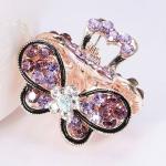 Fashion Vintage Women Crystal Rhinestone Hairpins Mini Butterfly Hair Claws Hair Accessories(Purple)