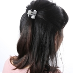 Fashion Women Hair Claw Elegant Mini Simple Colorful Bun Hair Accessories(White )