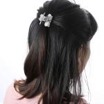 Fashion Women Hair Claw Elegant Mini Simple Colorful Bun Hair Accessories(White )