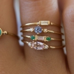 4 PCS Women Vintage Bohemian Crystal Zircon Ring Set, Ring Size:7