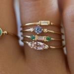 4 PCS Women Vintage Bohemian Crystal Zircon Ring Set, Ring Size:9