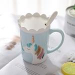 Creative 3D Unicorn Ceramic Coffee Mug Drinking Coffee Tea Cup with Spoon Crown Lid(Blue)