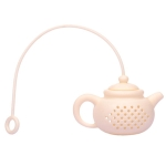3 PCS Creative Silicone Tea Bag Tea Pot Shape Tea Filter Safely Cleaning Infuser(White)