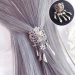 Retro Hollow Alloy Hair Clips Hairpins Headwear Crystal Tassel Pendant Hair Pins Claw