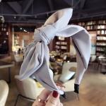 Rabbit Ears Cloth Bow Headband Girls Hair Hoop Bands Accessories(Grey)