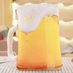 Snack Food Pillows Beer Fried Chicken Snack Pillow Plush Toy Doll Decorative Pillow(Beer glass)