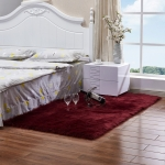 Luxury Rectangle Square Soft Artificial Wool Sheepskin Fluffy Rug Fur Carpet, Size:55x55cm(Wine Red)