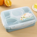 1000ml 5 Cells Healthy Plastic Lunch Box Durable Adults Lady Kid Lunchbox Microwave Lunch Bento Box(Blue)