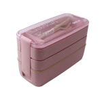900ml 3 Layers Bento Box Lunch Box Food Container Wheat Straw Material Microwavable Dinnerware Lunchbox(Pink)