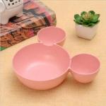 2 PCS Kids Bowl Dinnerware Set Cartoon Creative Plate Plastic Tableware Lovely Lunch Tray Dishs(Pink)