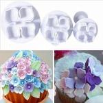 6 PCS Silicone Hydrangea Fondant Cake Decorating Flower Blossom Mold(3 PCS Hydrangea)