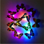10 PCS Lovely Butterfly LED Night Light Color Changing Light Lamp Beautiful Home Decorative Wall Nightlights