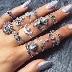 14 PCS/Set Punk Vintage Hollow Carved Diamond Waterdrop Flower Moon Ring Set