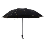 Feather Pattern Umbrella Dual-Use Three Folding Manual Control Portable Sunscreen Rain Umbrellas Windproof Parasol(Black)