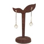 Flannel Earring Show Stand Rack Eardrop Jewelry Showing Shelf Dangler Display Holder Stand(Brown)