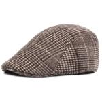 Thick Warm British Style Lattice Woolen Cap(coffee)