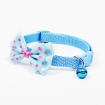 Adjustable Bow Knot Bell Collar Cat Dog Collars Pet Supplies(Sky Blue)